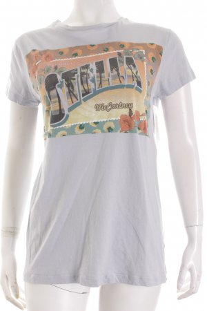 Stella McCartney T-Shirt graublau-himmelblau Motivdruck Casual-Look