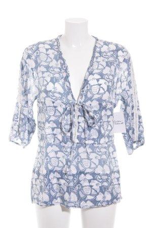 Stella McCartney Tunikabluse weiß-graublau florales Muster Casual-Look