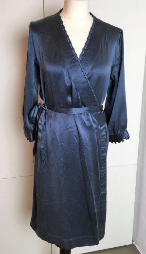 * STELLA McCARTNEY X H&M * Midi KLEID 100% SEIDE blau Wickellkleid Gr 40 L