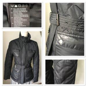 Steppjacke Jacke schwarz Gr. 34 XS Gürtel gesteppt Übergangsjacke