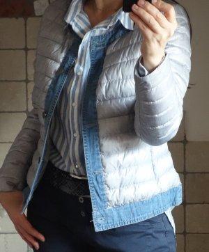Veste matelassée gris clair-bleu acier tissu mixte