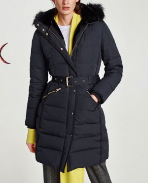 Zara Quilted Coat dark blue-gold-colored