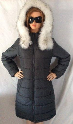 Abrigo con capucha gris oscuro Poliéster