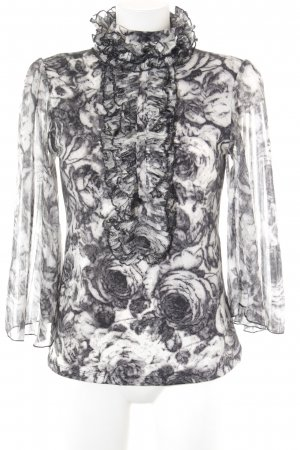 Steps Rüschen-Bluse schwarz-weiß abstraktes Muster extravaganter Stil