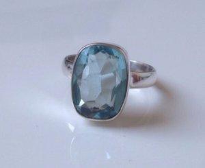 Sterling Blautopas facettierter Edelstein Ring Silber 925 Clean Chic Topas