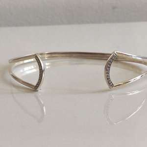 Vintage Bangle silver-colored-white real silver