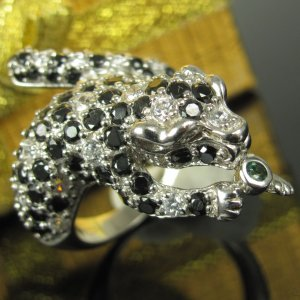 Sterling Silber 925 Panther Leo Leopard Katze Raubkatze Ring Silberring