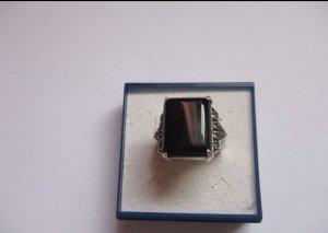Sterling Silber Ring mit Onyx und Markasiten