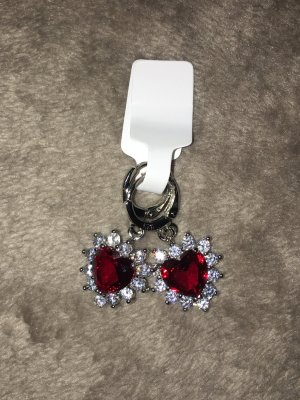 Dangle silver-colored-dark red