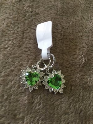 Silver Earrings silver-colored-lime-green
