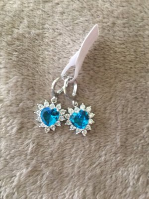 Silver Earrings silver-colored-light blue