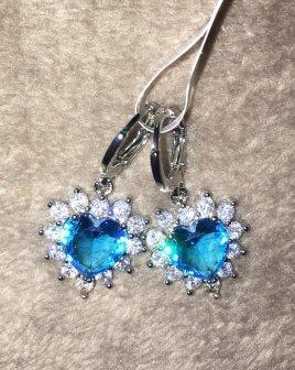 Sterling Silver 925 Ohrringe in blau