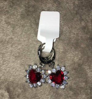 Sterling Silver 925 Ohrringe in rot