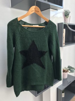 V Milano Jersey de cuello redondo negro-verde bosque