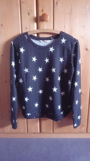 Sternen Pulli dunkelblau weiß 34 36 XS S