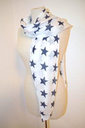 Sterntuch Blaue Sterne Weiss 50% Cotton 50% Silk Neu