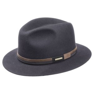 STETSON Felt Hat dark blue-bronze-colored