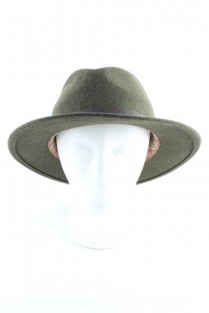 STETSON Woolen Hat olive green-brown velvet appearance