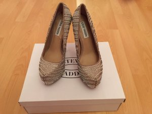 STEVE MADDEN DYVINAL PUMPS in pewter nude Strass