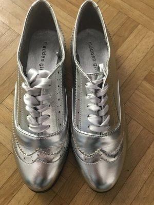 Steve Madden Girl budapester Schuhe Schnürschuhe Silber 39 NEU Satin Halbschuhe