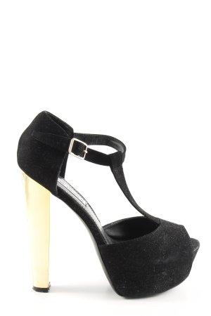 Steve Madden High Heels schwarz-goldfarben Glanz-Optik