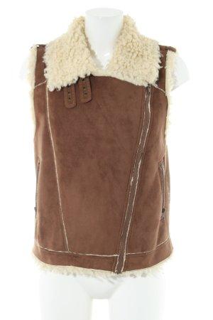 Steve Madden Fake Fur Vest brown-natural white casual look