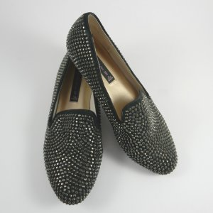 STEVE MADDEN Loafers schwarz mit Schmucksteinen Größe 37.5 NEUWERTIG!