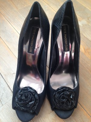 Steve Madden Luxe Blumen Peeptoe High Heels schwarz US 9 dt 40 wNeu