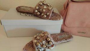 Steve Madden High-Heeled Sandals pink fake fur