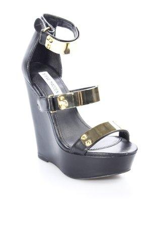 Steve Madden Plateau-Sandaletten schwarz-goldfarben extravaganter Stil