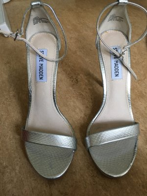 Steve Madden Strapped High-Heeled Sandals silver-colored
