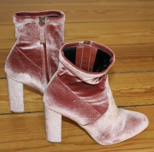 Steve Madden Stiefeletten Samt rosa Gr. 40 Blockabsatz