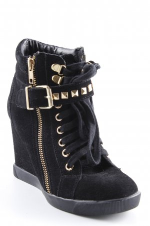 Steve Madden Wedge Sneaker schwarz-goldfarben Street-Fashion-Look