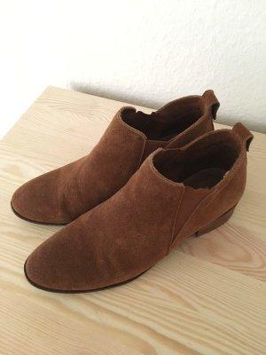 Steve Madden Wildleder Leder Ankle Chelsea Boots Cognac braun 38