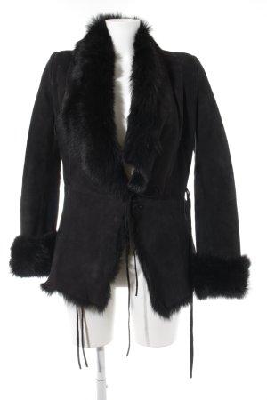 Steven-K Manteau en cuir noir élégant