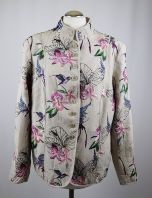 Stickerei Leinen Blazer Jacke White Label Größe XL 42 44 Beige Vogel Blumen Pink Blau Grün Muster Stehkragen Landhaus Look gestickt Trachten Asia
