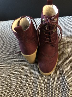 H&M Lace-up Boots bordeaux