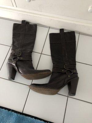 Botas estilo vaquero marrón oscuro Cuero