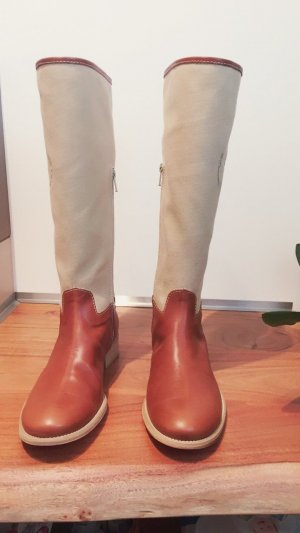Wide Calf Boots cognac-coloured-cream leather