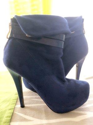 Botas de tacón alto azul oscuro