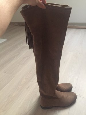Overknees light brown-grey brown
