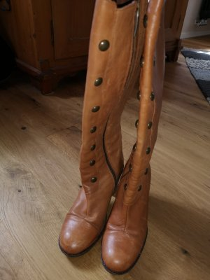 DUO Wide Calf Boots cognac-coloured leather