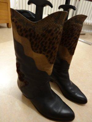 Korte laarzen donkerblauw Leer