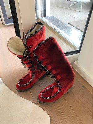Botas de piel carmín Piel