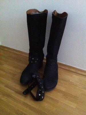 Cafènoir Wide Calf Boots black leather