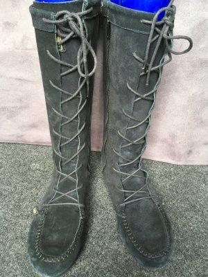 Stiefel aus Wildleder, schwarz, Gr. 39