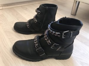 Catwalk Botas de combate negro-color plata