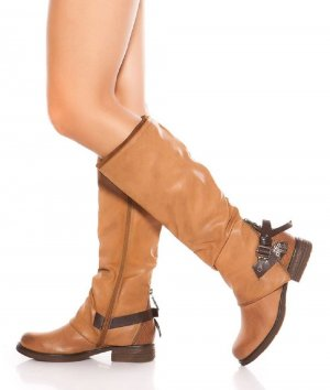 Biker Boots beige imitation leather