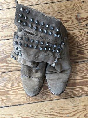 Stiefel Boots Leder Nieten beige Gr.40