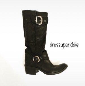 stiefel • boots • leder • vintage • bohostyle • hippielook • schwarz